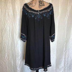 Lucky Brand Sz M Black Embroidered Peasant Boho